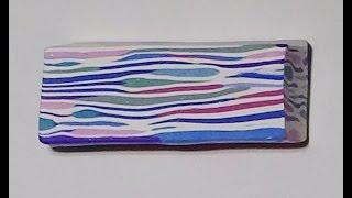 getlinkyoutube.com-Polymer Clay Cane - Random Uneven Stripes
