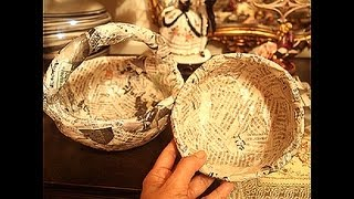 getlinkyoutube.com-Newspaper recycling..How to make solid Basket and Bowl..part 1