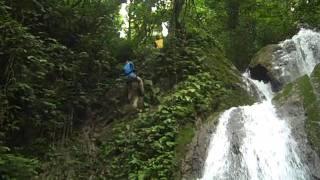 getlinkyoutube.com-Alison rappelling the waterfall