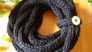 getlinkyoutube.com-Finger Knitted Scarf ....Schal stricken mit den Fingern