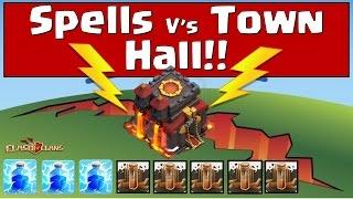 getlinkyoutube.com-Clash of Clans - Spells V's Town Hall (Lightning + Earthquake!)