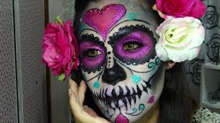 getlinkyoutube.com-Maquillaje Halloween Catrina Glamurosa 2014