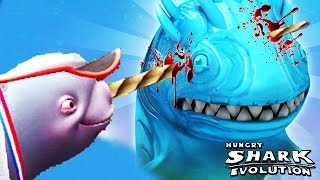 getlinkyoutube.com-Hungry Shark Evolution - Natasha The Narwhal vs Enemy Ice Shark