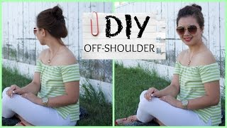 getlinkyoutube.com-DIY OLD TSHIRT TO OFF-SHOULDER//SUMMER//QUICK FIX