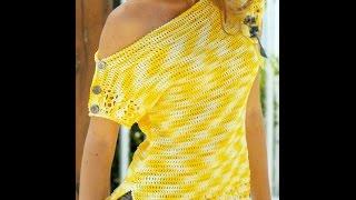 getlinkyoutube.com-Patrón Para Tejer Blusa Amarilla a Crochet