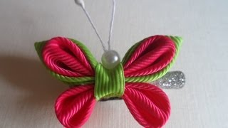 getlinkyoutube.com-Розовая Бабочка  Канзаши / Pink Butterfly kanzashi