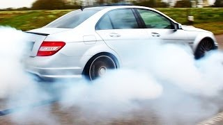 getlinkyoutube.com-Mercedes C63 AMG Burnout Acceleration Tire SMOKE & 6,2l V8 Exhaust Sound W204 Wheel Spin Benz