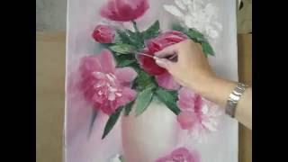 """getlinkyoutube.com-Мастер-Класс масляной живописи """"Пионы в вазе"""""""