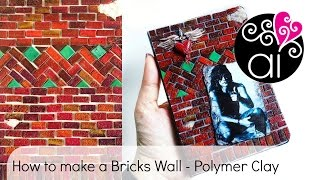 How to make a Bricks Wall with Polymer Clay | Bon Jovi Art Journal Tutorial | Fan Art