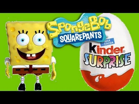 Kinder Surprise Eggs Unboxing Spongebob gift toy. Huevo Kinder Bob Esponja