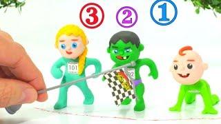 SUPERHERO BABIES BIG RACE ❤ Spiderman, Hulk & Frozen Elsa Play Doh Cartoons For Kids