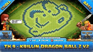 getlinkyoutube.com-★ Clash of Clans Troll Base ★ TH9 Trophy - Krillin Dragon Ball Z V2