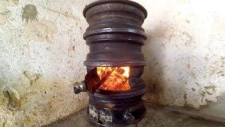 getlinkyoutube.com-#4 How to make Wood Stove from Car Wheel to workshop DIY