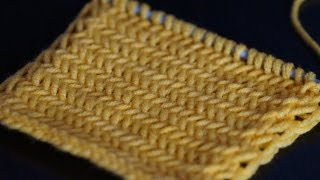 getlinkyoutube.com-Вязание спицами узора Елочка для начинающих  /////   Herringbone pattern knitting for beginners