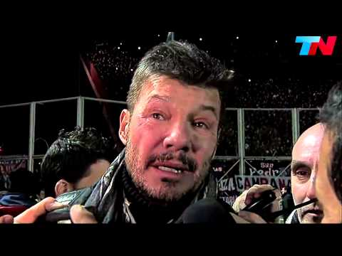 Tinelli llorando con San Lorenzo campeon Libertadores