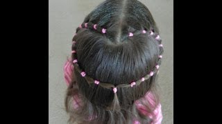 getlinkyoutube.com-Valentine's pink heart hairstyle / Bonita Hair Do
