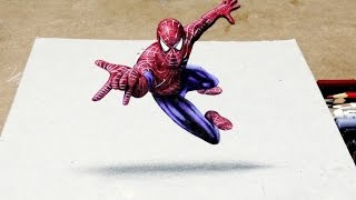 getlinkyoutube.com-Desenhando o Homem Aranha 3D | How to Draw Spider Man 3D