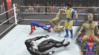 Wolverine vs Deadpool vs Spiderman vs Venom vs Hulk vs GROOT - WWE 2K15