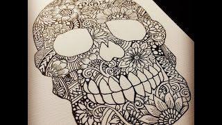 getlinkyoutube.com-Zentangle Skull ~drawing process~