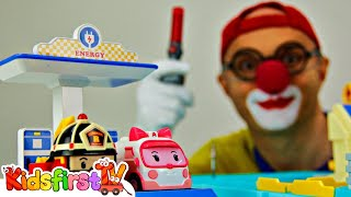getlinkyoutube.com-Toy Car Clown - Robocar Poli MAGICAL MYSTERY TOUR!