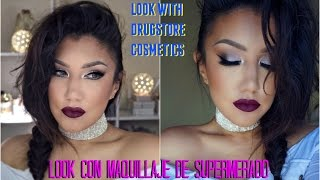 getlinkyoutube.com-Maquillaje Cosmeticos de Supermercado / Drugstore cosmetics makeup tutorial  auroramakeup
