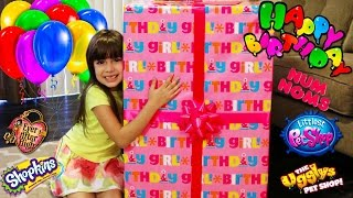 getlinkyoutube.com-Opening GIANT Surprise Birthday Present - Shopkins, Num Noms, Ever After High, LPS,  Ugglys