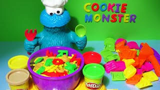 getlinkyoutube.com-Play-Doh Cookie Monster Letter Lunch Learn To Read ABC Alphabet Kids Food Play Dough Playdoh