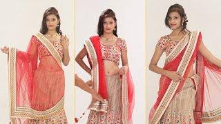 getlinkyoutube.com-How To Wear Lehenga Saree To Look Slim Step By Step – 5 Gorgeous Ways To Drape Lehenga Dupatta