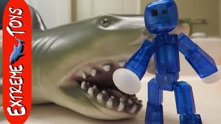getlinkyoutube.com-Stikbot Vs  Megalodon Shark Toy 2! The Revenge of the Megalodon