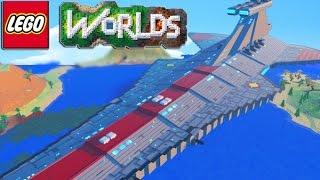 getlinkyoutube.com-LEGO Worlds - LEGO Land Building SKY BASE, TOWN HALL, SPACE SHIP & More! #4 (LEGO Worlds)