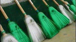 getlinkyoutube.com-How to make a broom from plastic bottles | Homemade