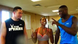 getlinkyoutube.com-Elle Swan with Pro Boxers IZU UGONOH & JOSEPH PARKER at Vegas Hot Yoga