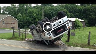 getlinkyoutube.com-Large GMC TopKick Utility Truck Rollover, You Won't Believe what Happened Next...