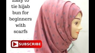 Hijab Bun with scarf for beginners  Easy hijab style bun with less pins