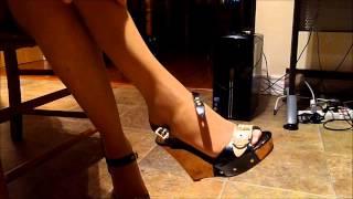 getlinkyoutube.com-ebony pantyhose legs feet highheeled wedge sandals dangle