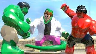 getlinkyoutube.com-Curt Connors (Transformation) vs Red Hulk vs Hulk Transformation # LEGO Marvel Super Heroes