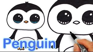 getlinkyoutube.com-How to Draw a Cute Cartoon Penguin Easy step by step