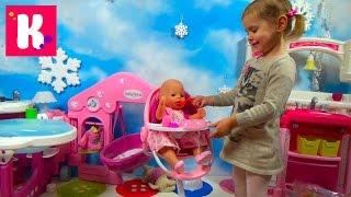 getlinkyoutube.com-Стульчик для кормления Беби бон распаковка играем куклой кормим куклу Baby Born babies chair