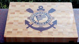 "getlinkyoutube.com-Making ""S.C.Corinthians Paulista"" end grain cutting board"