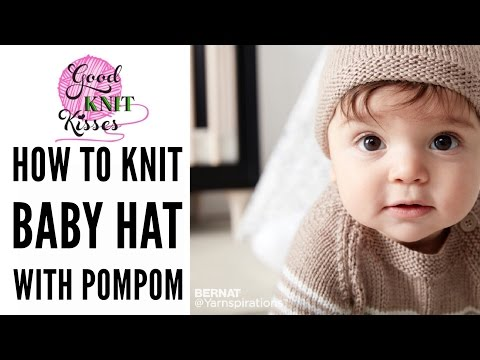 How to Knit a Baby Hat with pompom in Bernat Softee Baby yarn by Yarnspirations