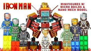 getlinkyoutube.com-Iron Man 8-in-1 Suit of Armors w/ Micro Builds & Nano Mech Model LEGO KnockOff Set 12