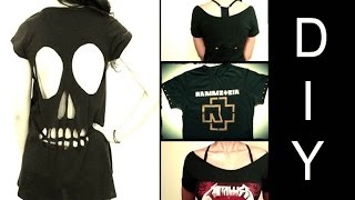 getlinkyoutube.com-DIY: 3 Ideias de Como Customizar Camisetas de Banda (Skull Cut Out T-shirt)