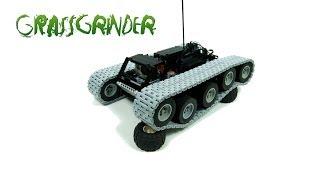 getlinkyoutube.com-Lego Technic Motorized Grassgrinder Vehicle With Custom Tracks
