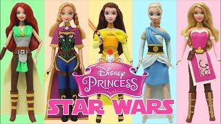 "getlinkyoutube.com-Play Doh ""Disney Princess"" Frozen Elsa Anna Ariel Aurora Belle Star Wars Jedi Costumes"