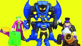 getlinkyoutube.com-Fisher Price Hero World DC Batman with Robot Exoskeleton Joker Penguin Launcher
