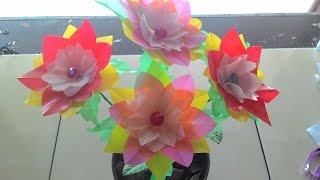 getlinkyoutube.com-DIY craft - how to make flowers from plastic