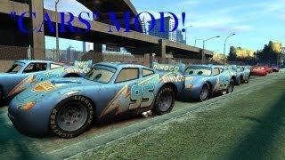 """getlinkyoutube.com-GTA IV - Disney """"CARS"""" Mod Event! Group Stunt, BUSTED & Demolition Derby"""