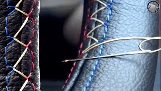 How to stitch a leather steering wheel cover DIY fitting instructions