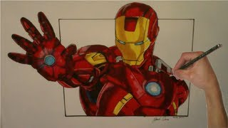 getlinkyoutube.com-Realistic Iron Man Drawing with Copic Markers