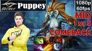 getlinkyoutube.com-Puppey (Secret) - Naga Siren MID Pro Gameplay | 1 VS 5 COMEBACK | MMR [Dota 2 Pro] @60fps